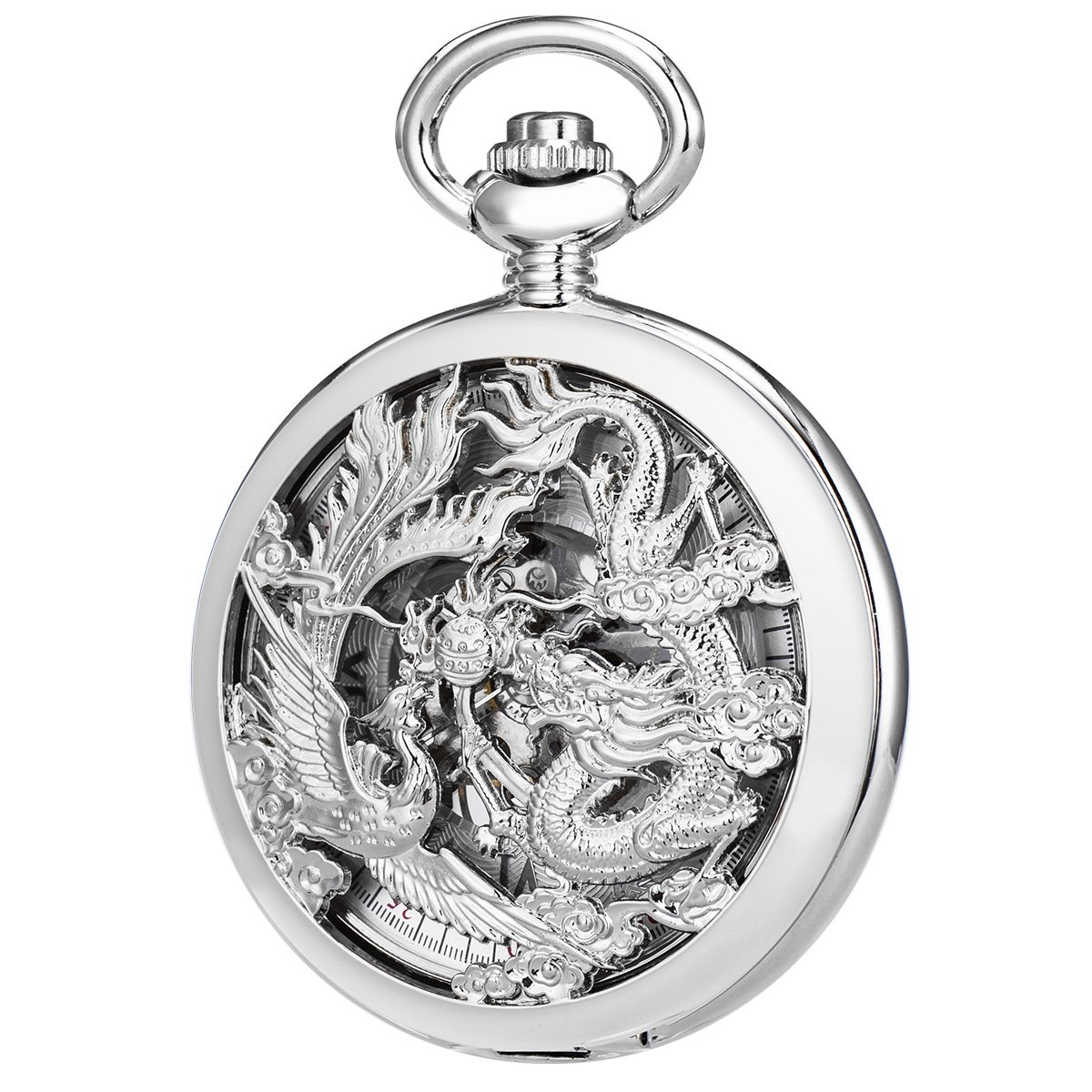 SIBOSUN Antique Phoenix and Dragon Skeleton Pocket Watch Mens Mechanical Silver Half Hunter Hand Wind