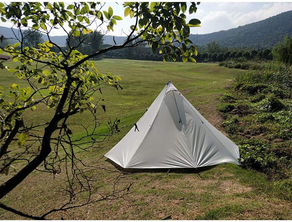 Tienda de Campaña BLTLYX 3-4 Persona Ultraligero Camping Al Aire Libre Teepee 20d Nylon Grande Sin Varilla Tienda Mochila Senderismo Gris
