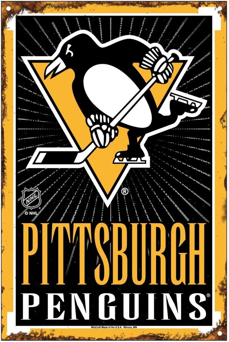 NHL Pittsburgh Penguins 6 x 9 inch Metal Wire Hanging Sign