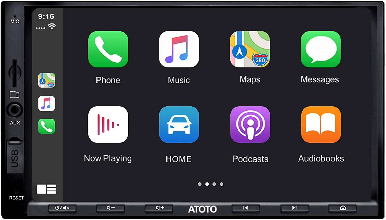 Radio de Coche de Doble DIN ATOTO - SA102 Starter (YS102SL) CarPlay y Android Auto, Enlace de duplicación de teléfono, Bluetooth, Radio, Video y Audio USB