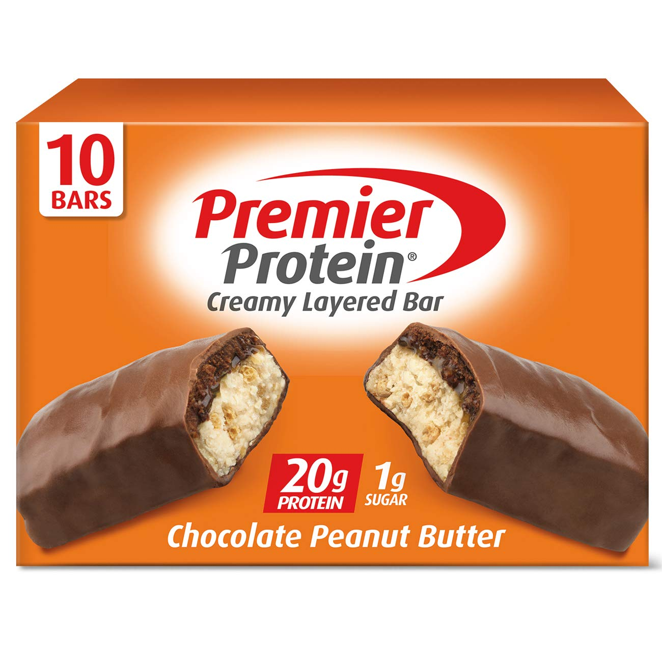 Premier Protein 20g Protein bar, Chocolate Peanut Butter, 2.08 Oz, (10Count) by Premier Nutrition Protein