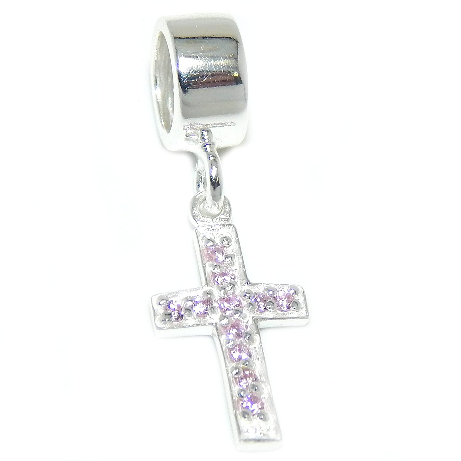 ICYROSE Solid 925 Sterling Silver Dangling Cross with Pink Crystals Charm Bead