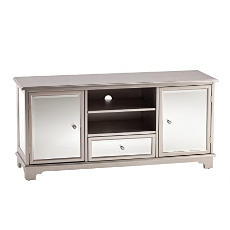 Southern Enterprises Mirage Mirrored TV Media Stand – Mirror Surface w Faux Crystal Knobs – Glam Style