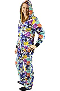 54ebb683df9a The Snooze Shack Hooded Onesie Jumpsuit with Drop Seat - Cats Cats Cats