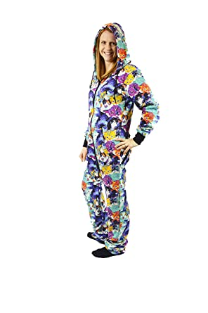The Snooze Shack Hooded Onesie Jumpsuit with Drop Seat - Cats Cats Cats (MEDIUM, MULTI)