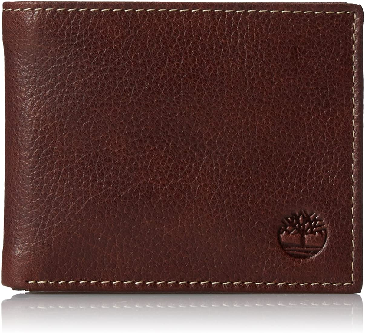 Timberland Men's Leather Wallet with Attached Flip Pocket, Brown (Sportz), One Size