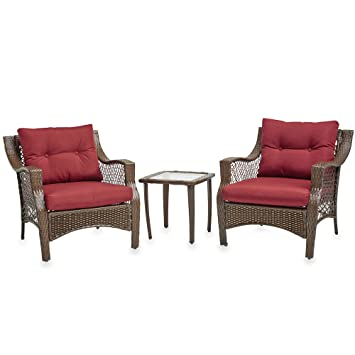 Superbe 3 Piece Outdoor Patio Wicker Furniture Set With Deep Seat Cushions (Red)