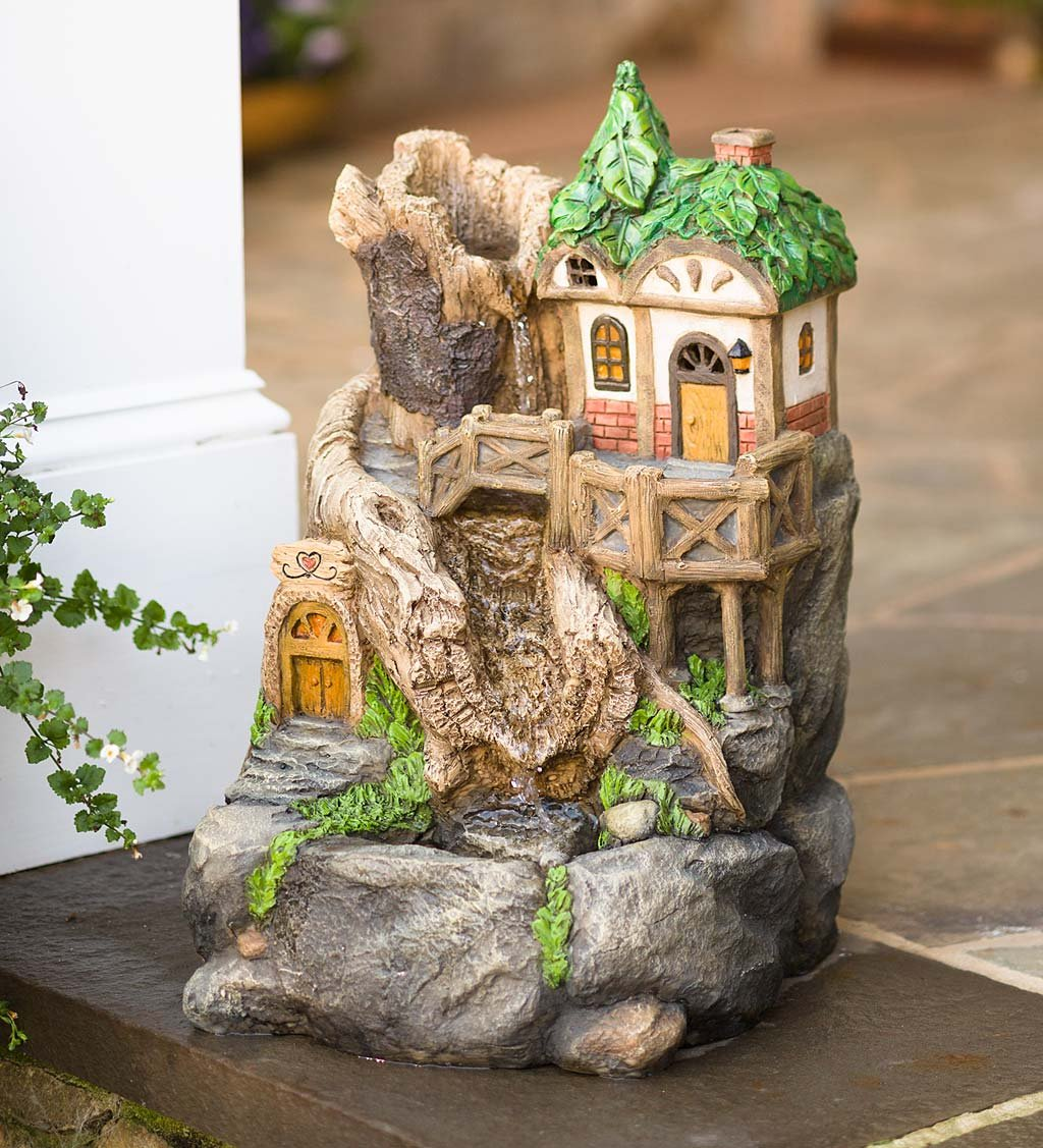 Solar Fairy House Fountain, 11.75 L x 11.50 W x 18 H