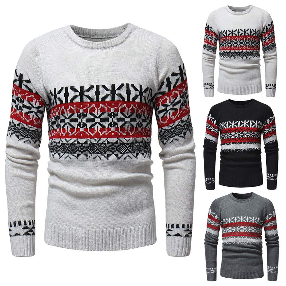 Kimloog Mens Long Sleeve Crewneck Print Knit Sweater Pullover Winter Warm Slim Sweatshirt