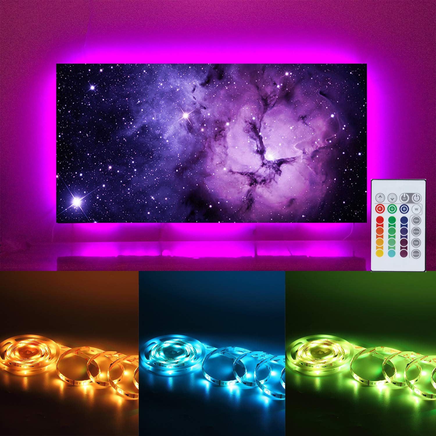 LED Strip Lights for 55 60 inches Back of TV Decor USB Operate 11.28ft Waterproof RGB Backlighting with 20 Colors Changing Remote (White 55'' 60'') by IDIFY (Image #1)