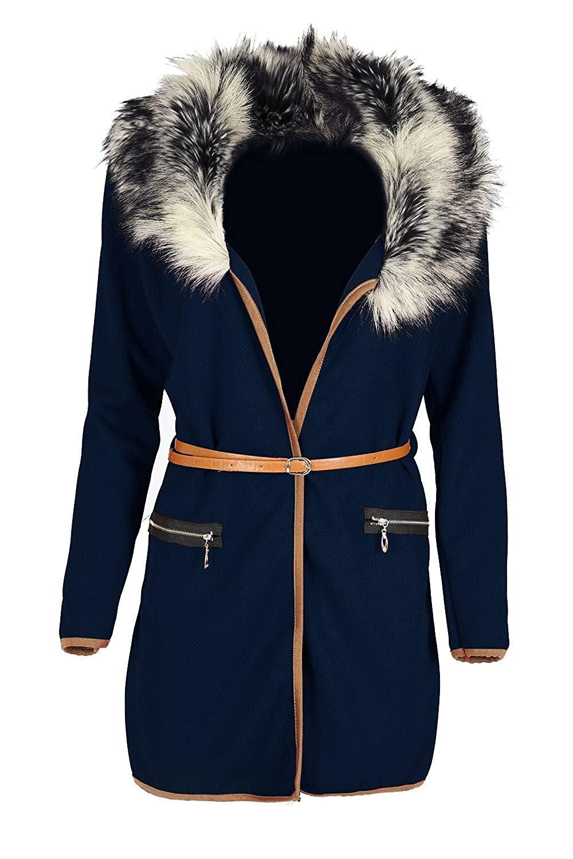 Oops Outlet Womens Kunstpelz Mantel Damen Jacke Mit Gürtel Langärmelig Blazer Umhang Strickjacke Top