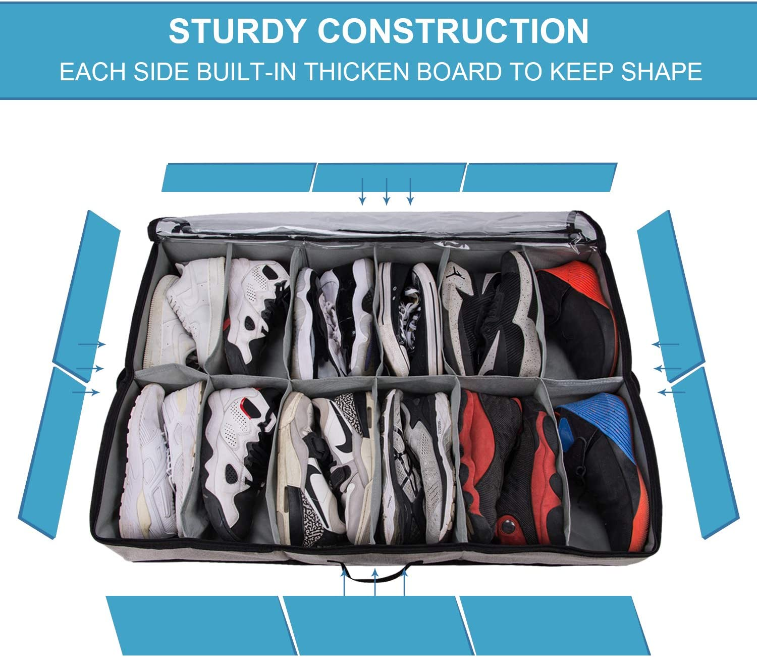 Gray Wrapping Paper Linens,Clothes ACMETOP Jumbo Under Bed Storage Containers Toys 2 Pack Underbed Storage Bags Organizer with Sturdy Construction and Durable Cotton-Linen for Blankets Shoes