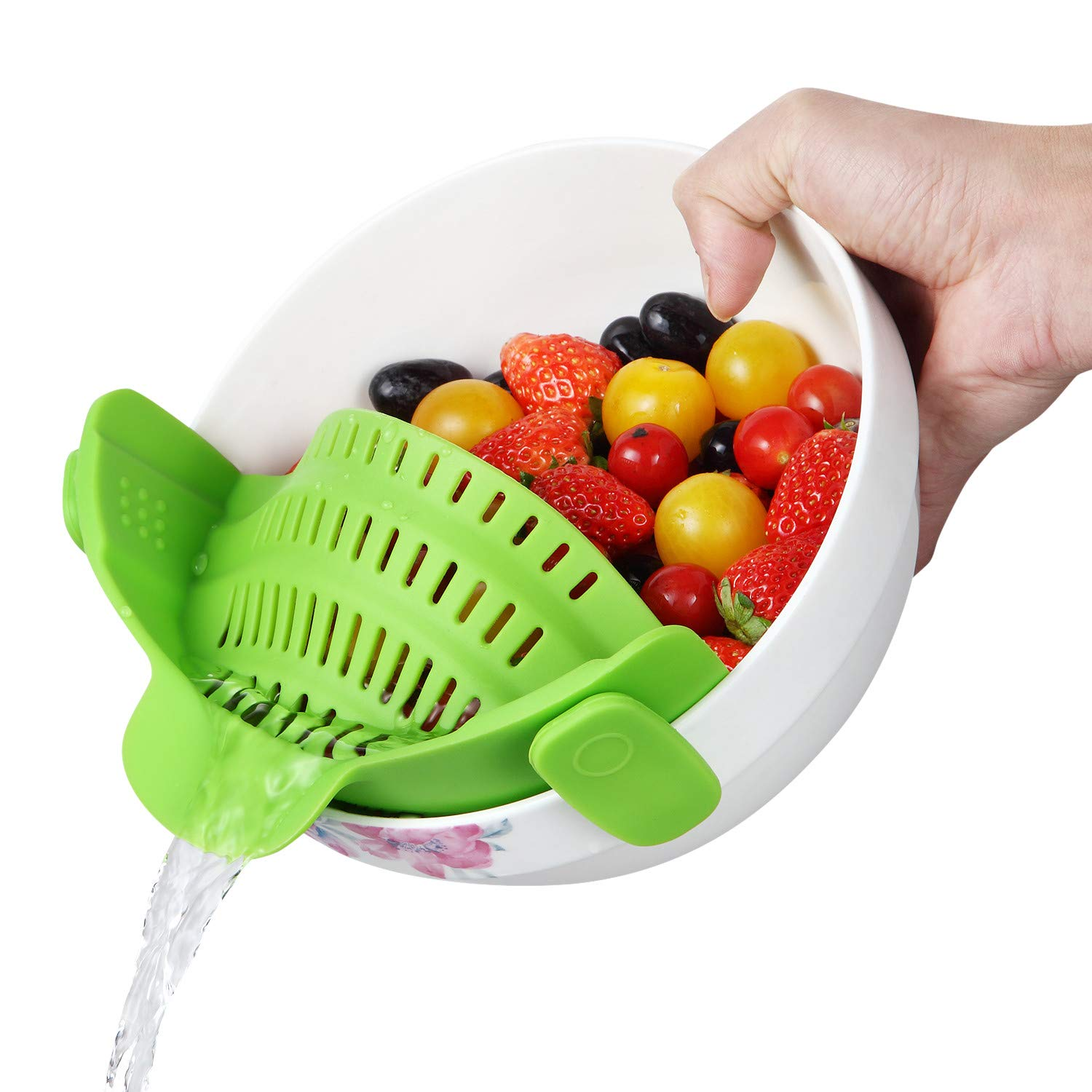 Byme Kitchen Food Strainers and Colanders Pasta Strainer Clip On Silicone Colander Fit all Pots and Bowls- Green
