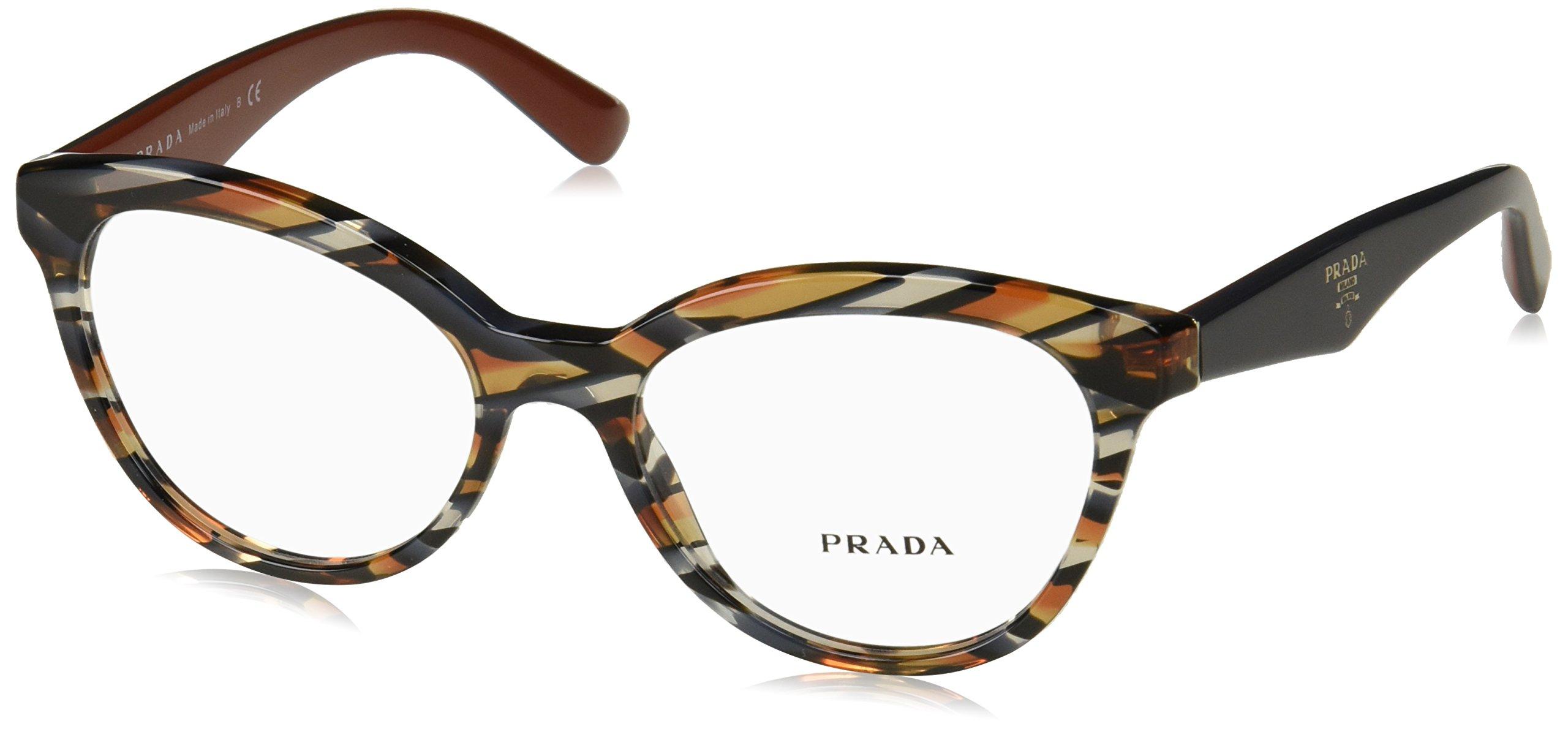 Prada Women's PR 11RV Eyeglasses Sheaves Grey Orange 52mm