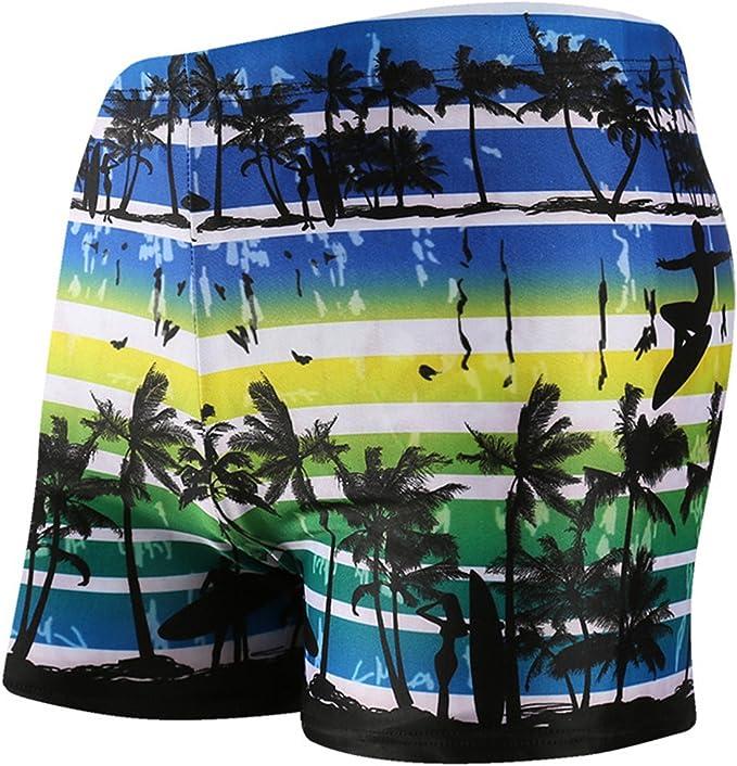 Betusline Mens Print Swim Briefs Shorts