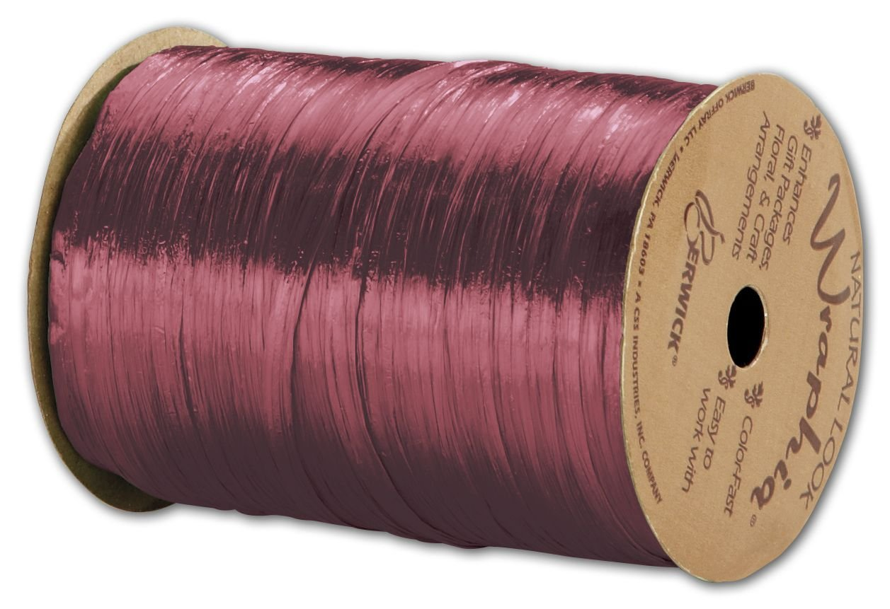 Solid Raffia - Pearlized Wraphia Burgundy Ribbon, 1/4' x 100 Yds (3/pack) - BOWS-263-2-34 1/4 x 100 Yds (3/pack) - BOWS-263-2-34 Miller Supply Inc.