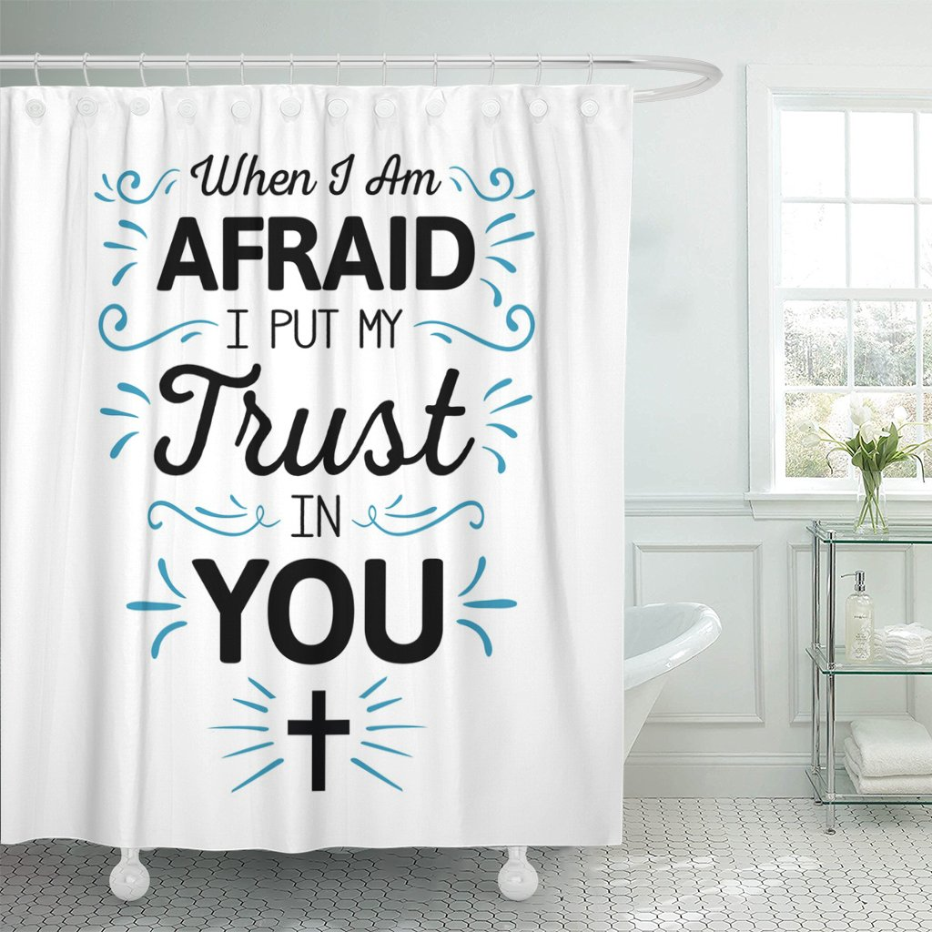 Breezat Shower Curtain When I'm Afraid I Put My Trust in You Calligraphy Bible Scripture Emblem with Blue Ornamental Accents Waterproof Polyester Fabric 72 x 72 Inches Set with Hooks by Breezat