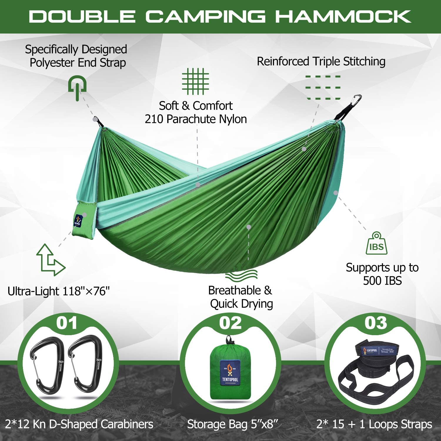 Supports up to 500 Lbs 2 Person Travel Hammock Made of 210T Nylon Parachute Fabric with 2 Reflective Nylon Tree Straps TENTOPOOL Portable Double Camping Hammock Carabiners and Pouch
