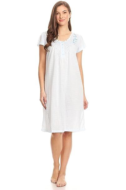 Pink Label 00107 Women Pajamas Night Gown Sleepwear Night Shirt (Blue ef4eabfe9