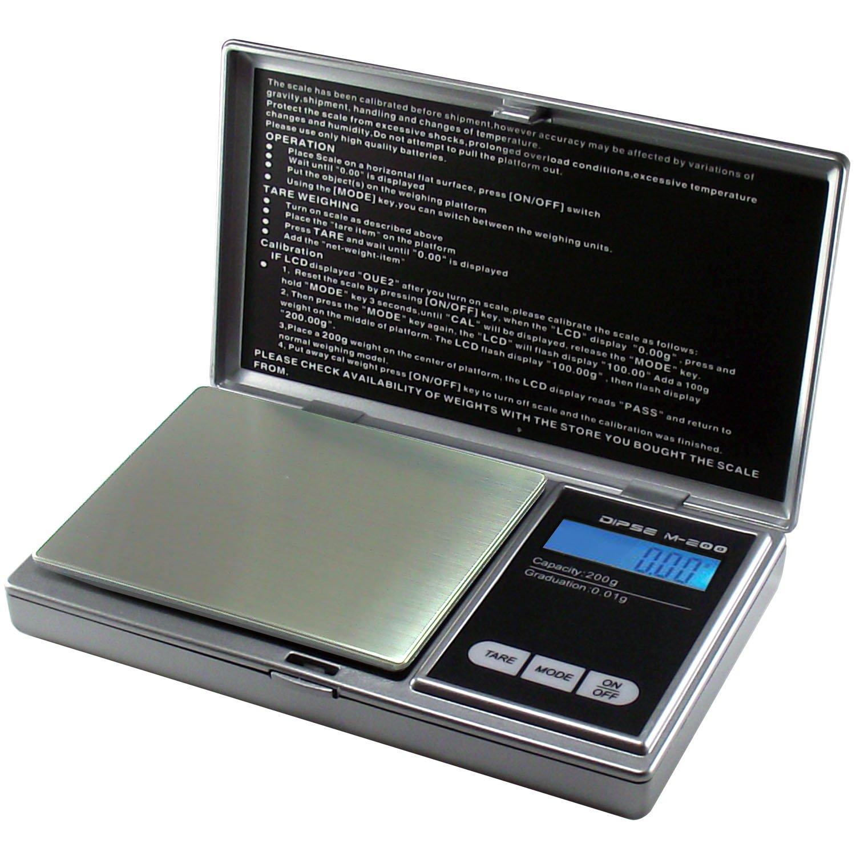 Bilancia digitale M 200von DIPSE–Digitale–Bilancia/tasche di fino a 200G in 0,01G., Acciaio INOX, argento, 200g x 0,01g