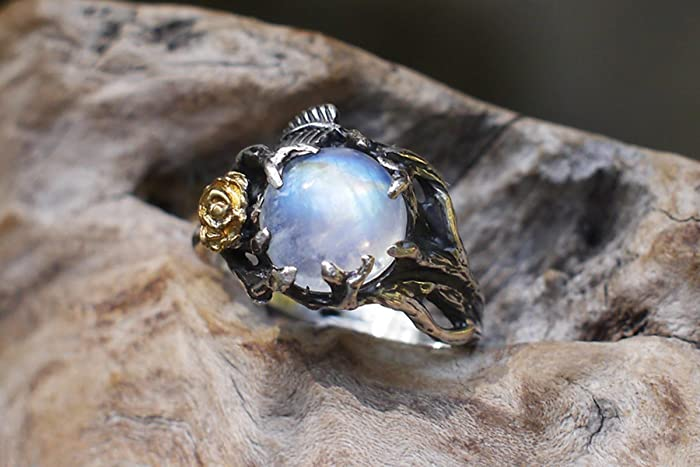sterling silver rainbow moonstone ring cleo made to order moonstone engagement ring - Moonstone Wedding Rings