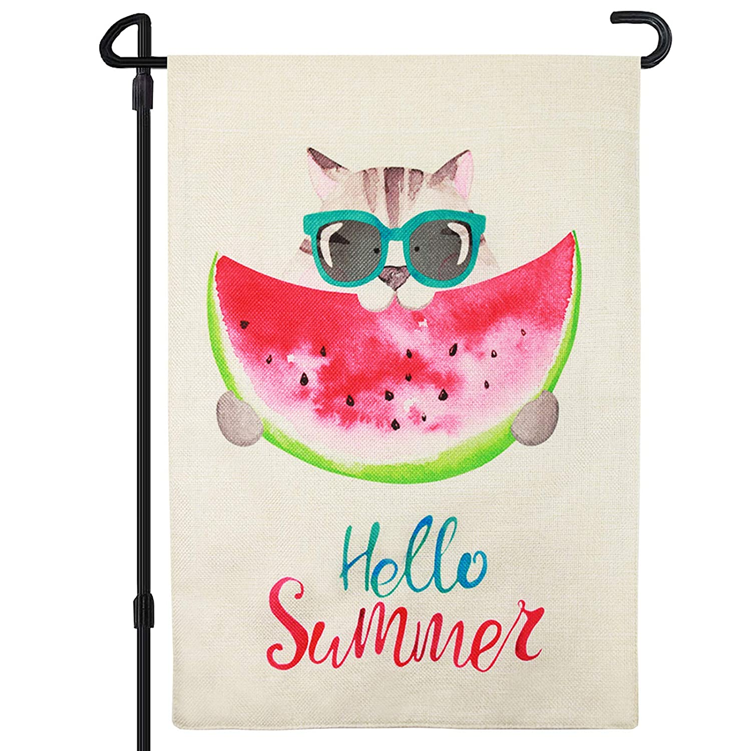 DOSEN HOFUL Small Welcome Summer Garden Flags Decor For Outside 12x18 Double Sided Dilei Cat Hello Funny Yard flags Decorative House Garden Flag Burlap Seasonal Happy Holidays Lawn
