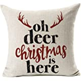 """Deer Christmas Is Here Throw Pillow Case Cushion Cover for Sofa Couch Home Decorative Cotton Linen 18"""" x 18"""""""