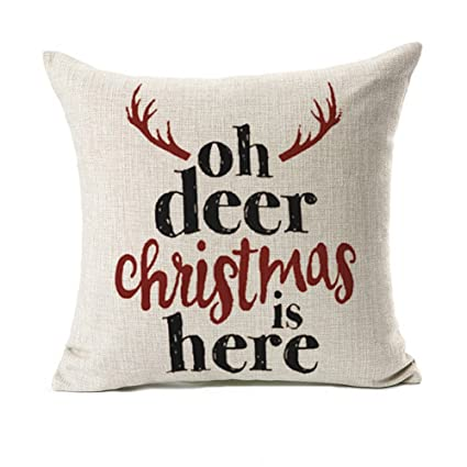 deer christmas is here throw pillow case cushion cover for sofa couch home decorative cotton linen