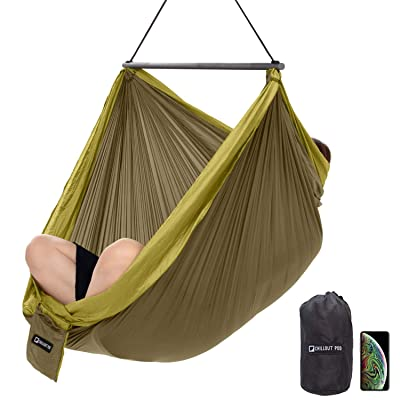 Travel Hanging Chair, Lightweight Hammock Chair, Collapsible One-Piece System, Super Compact and Portable, One Minute Setup, Extra Comfortable With Multiple Seating Positions (Army Green & Yellow): Garden & Outdoor