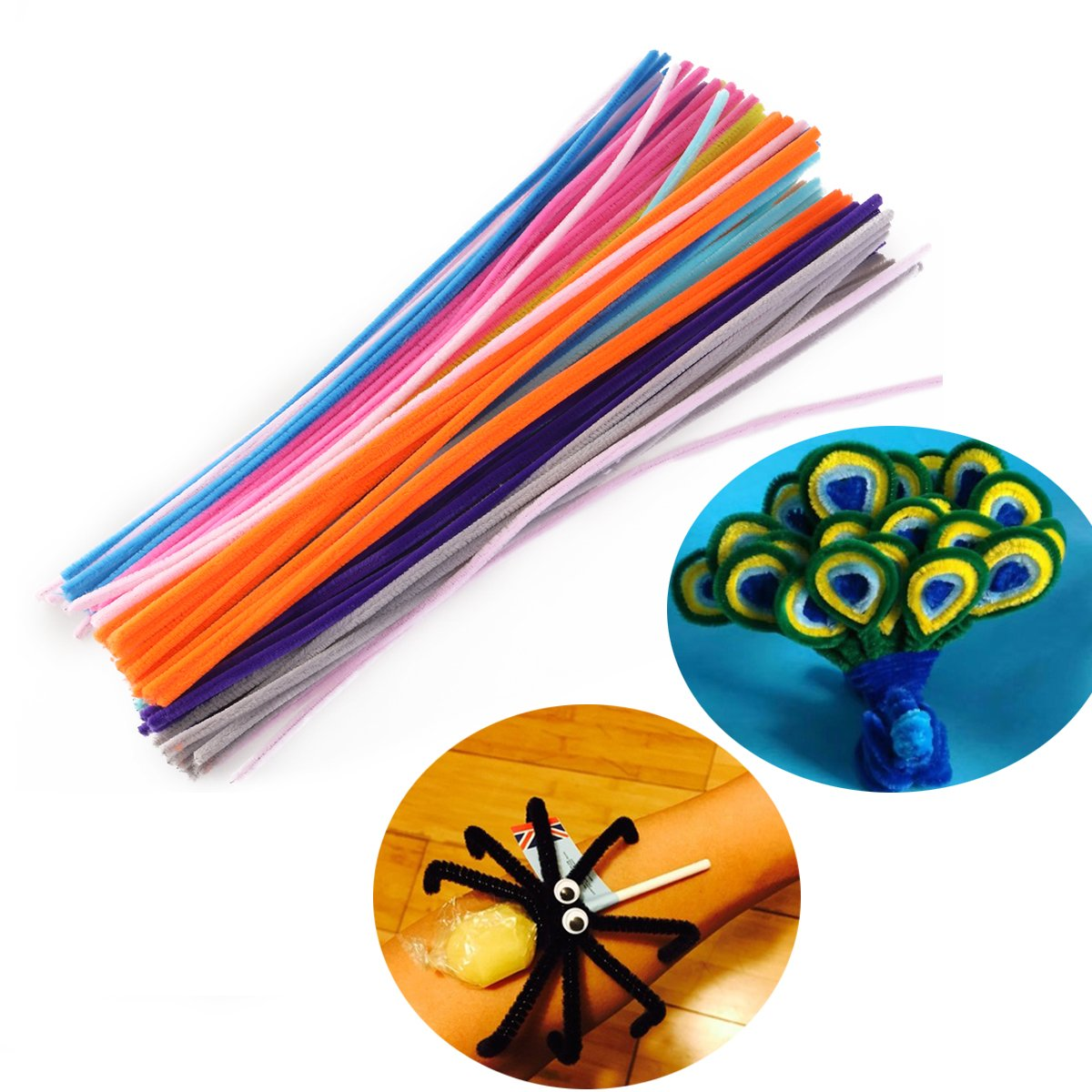 Tinksky Chenille Stems Pipe Cleaners Pack of 100(Random Color)
