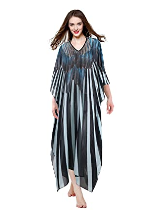 14945ba2a1 Image Unavailable. Image not available for. Color: MYPASSA Women Plus Size  Sheer Chiffon Long Summer Beach Dress Cover Up Swimwear Caftan Dress