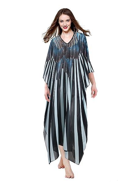 MYPASSA Women Plus Size Sheer Chiffon Long Summer Beach Dress Cover Up  Swimwear Caftan Dress