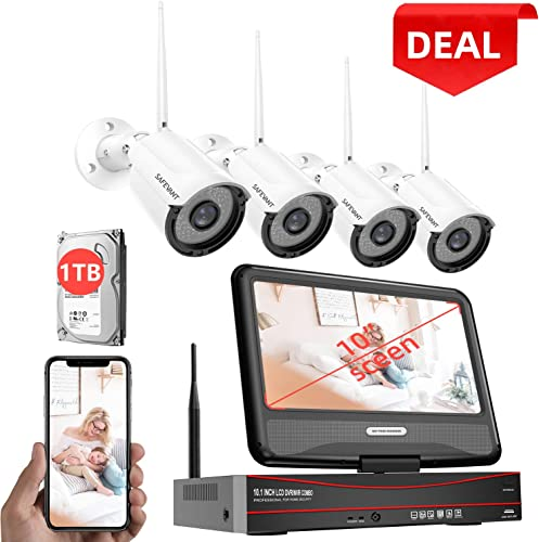 2020 New 1080P Security Camera System Wireless with Monitor 1TB Hard Drive,SAFEVANT 8 Channel Home NVR Systems 4pcs 960p Outdoor Indoor Surveillance Cameras with Night Vision Motion Detection