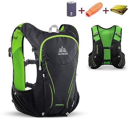 25d71c49f0 TRIWONDER Hydration Pack Backpack 5L Lightweight Deluxe Marathoner Running  Race Hydration Vest (Black & Green