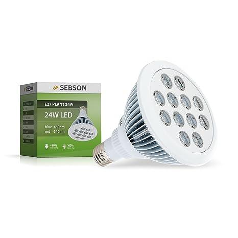 SEBSON® Bombilla Planta, Luz de Planta, LED E27 24W, 460/640nm, Lampara Crecimiento Plantas