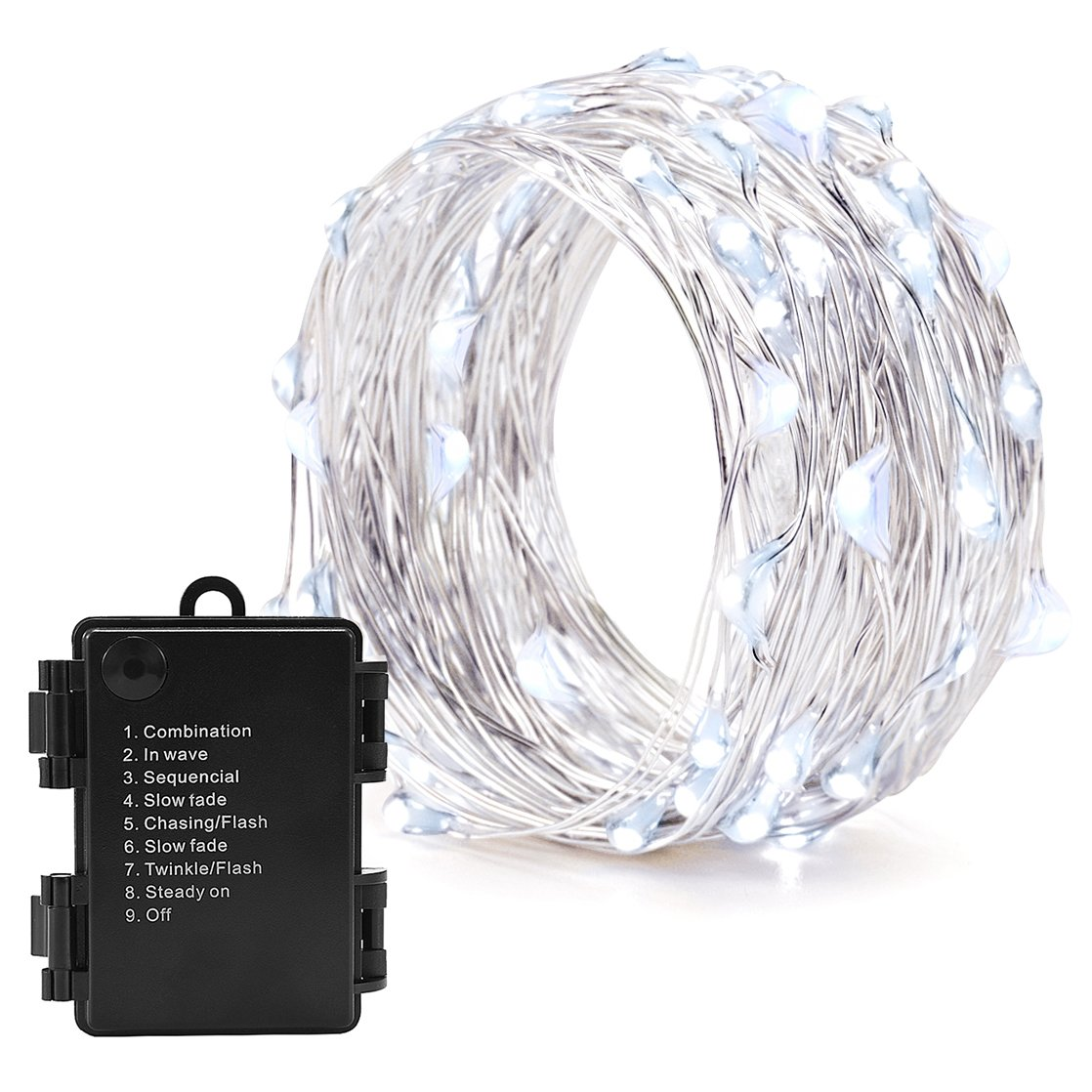 30er Micro LED Lichterkette Batterie-betrieben Kaltweiss 3M draht ...
