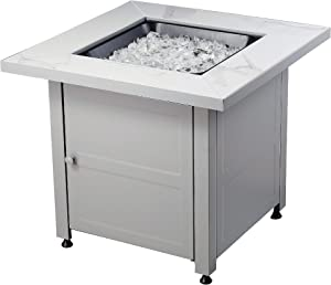 Endless Summer All Weather Outdoor Fire Pit with Faux Marble Finish, White Glass