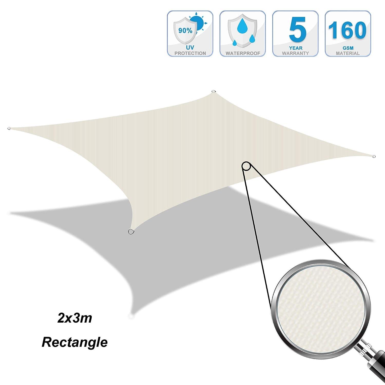Cool Area Tenda a Vela Impermeabile Rettangolare 2 x 3 Metri Protezione Raggi UV Crema