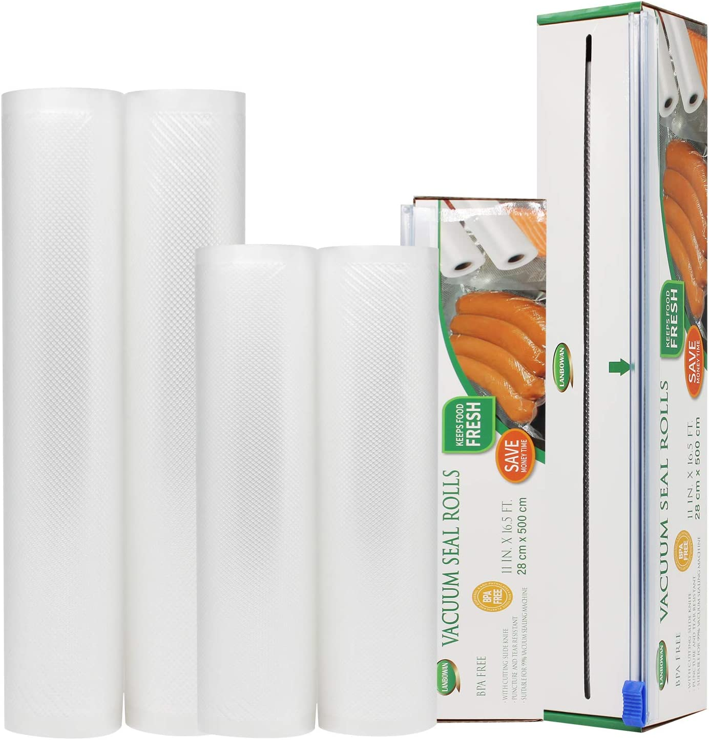 Vacuum Sealer Rolls Bag LANBOWAN Food Saver Vacuum Sealer Roll Bags with Cutter Box BPA-Free for Vac Storage Meal Prep Sous Vide (2 rolls 8