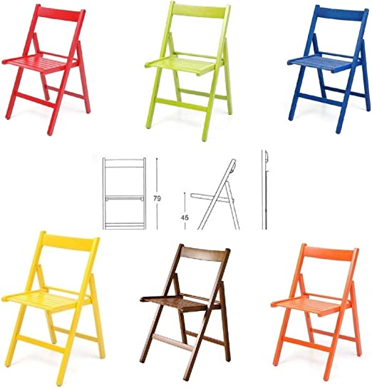 buiani 6 sillas de colores de madera barnizada, plegables para ...
