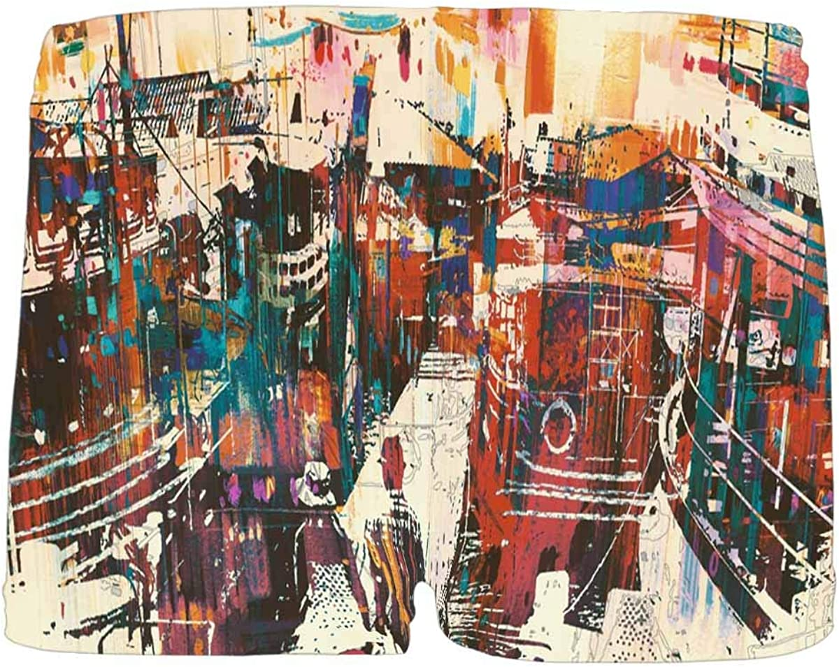 5T-2XL INTERESTPRINT Kids Couple Walking on Harbor Pier with Colorful Boats Comfortable Breathable Briefs