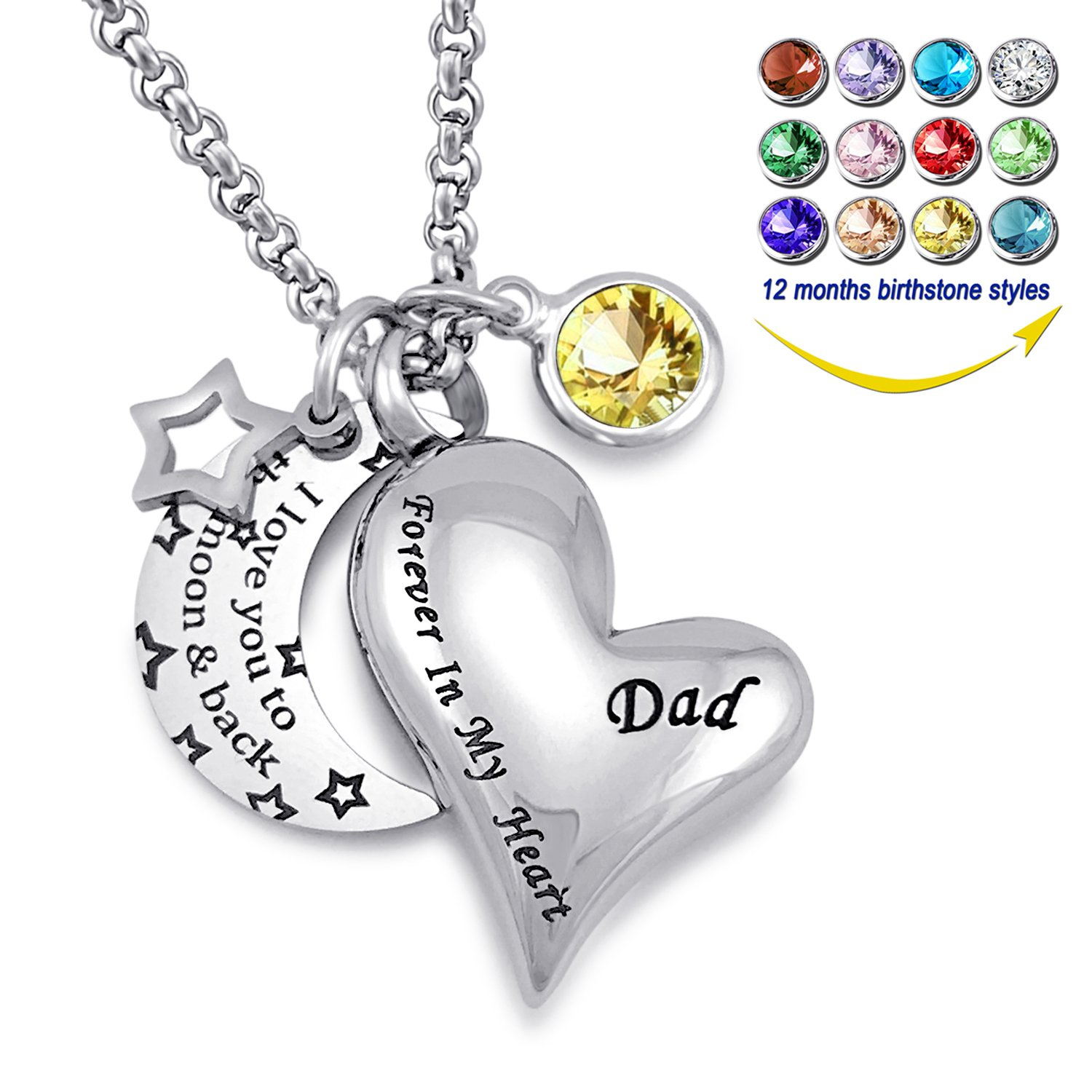 YOUFENG Urn Necklaces for Ashes I Love You to the Moon and Back for Dad Cremation Urn Locket Birthstone Jewelry (November urn necklace)