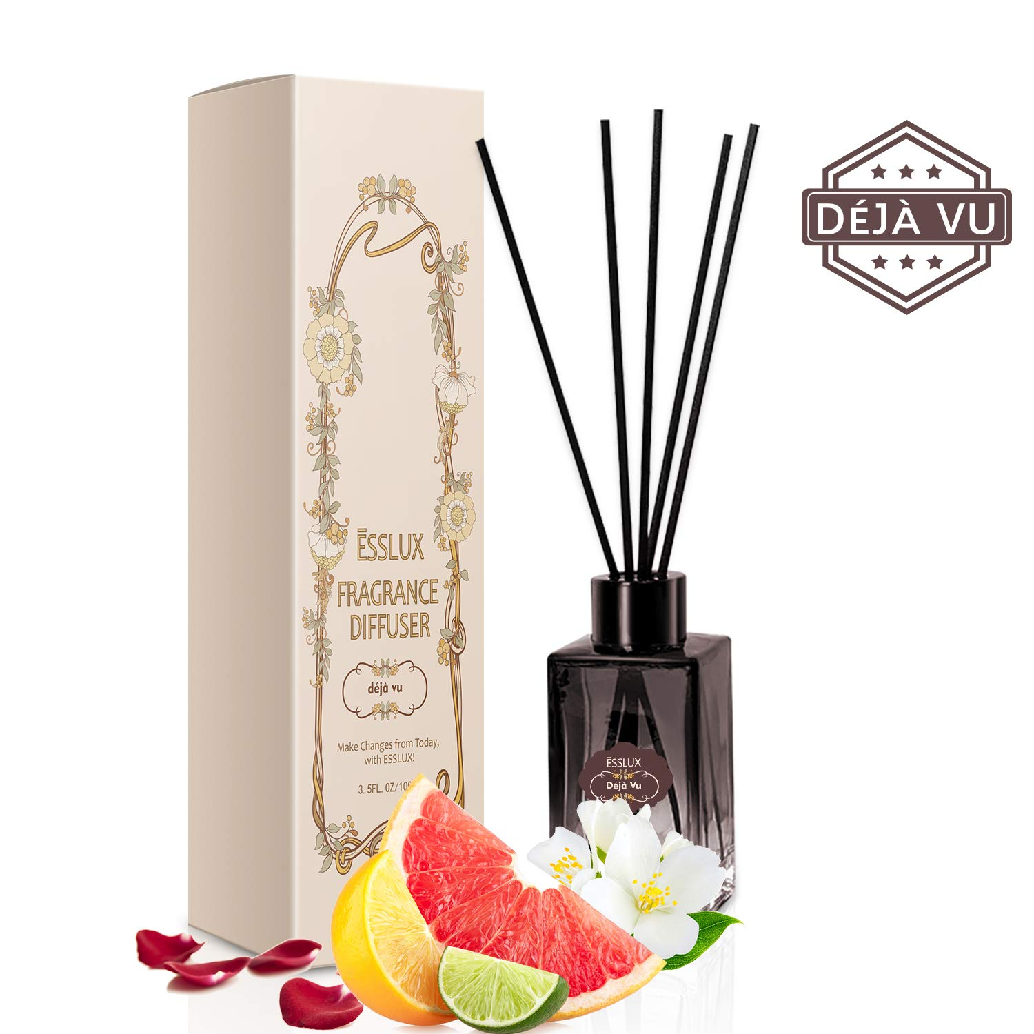 ESSLUX Reed Diffuser Set, Scent Diffuser Premium Quality for Home and Office, Air Freshener & Home Decor & Ideal Gift-Déjà Vu by ESSLUX