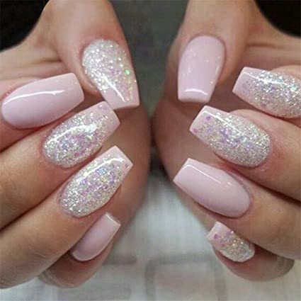 Amazon.com : Fashion Fake Nails Press On Girls Finger Beauty ...