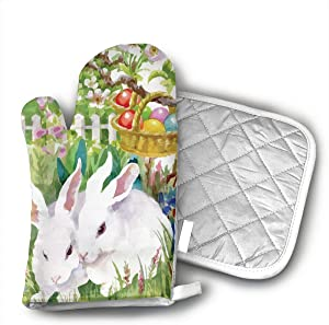 KEIOO Happy Easter Garden Bunny Eggs Oven Mitts and Potholders Heat Resistant Set of 2 Kitchen Set Non-Slip Grip Oven Gloves BBQ Cooking Baking Grilling