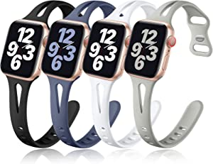 Getino Band Compatible with Apple Watch 42mm 44mm for Women Men, Soft Silicone Stylish Breathable Slim Sport Bands for iWatch SE & Series 6 5 4 3 2 1, 4 Pack, Black, White, Pebble Gray, Blue Gray
