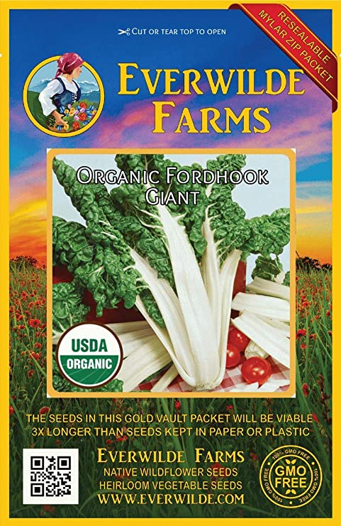 Everwilde Farms Mylar Seed Packet 1//4 Lb Fordhook Swiss Chard Seeds