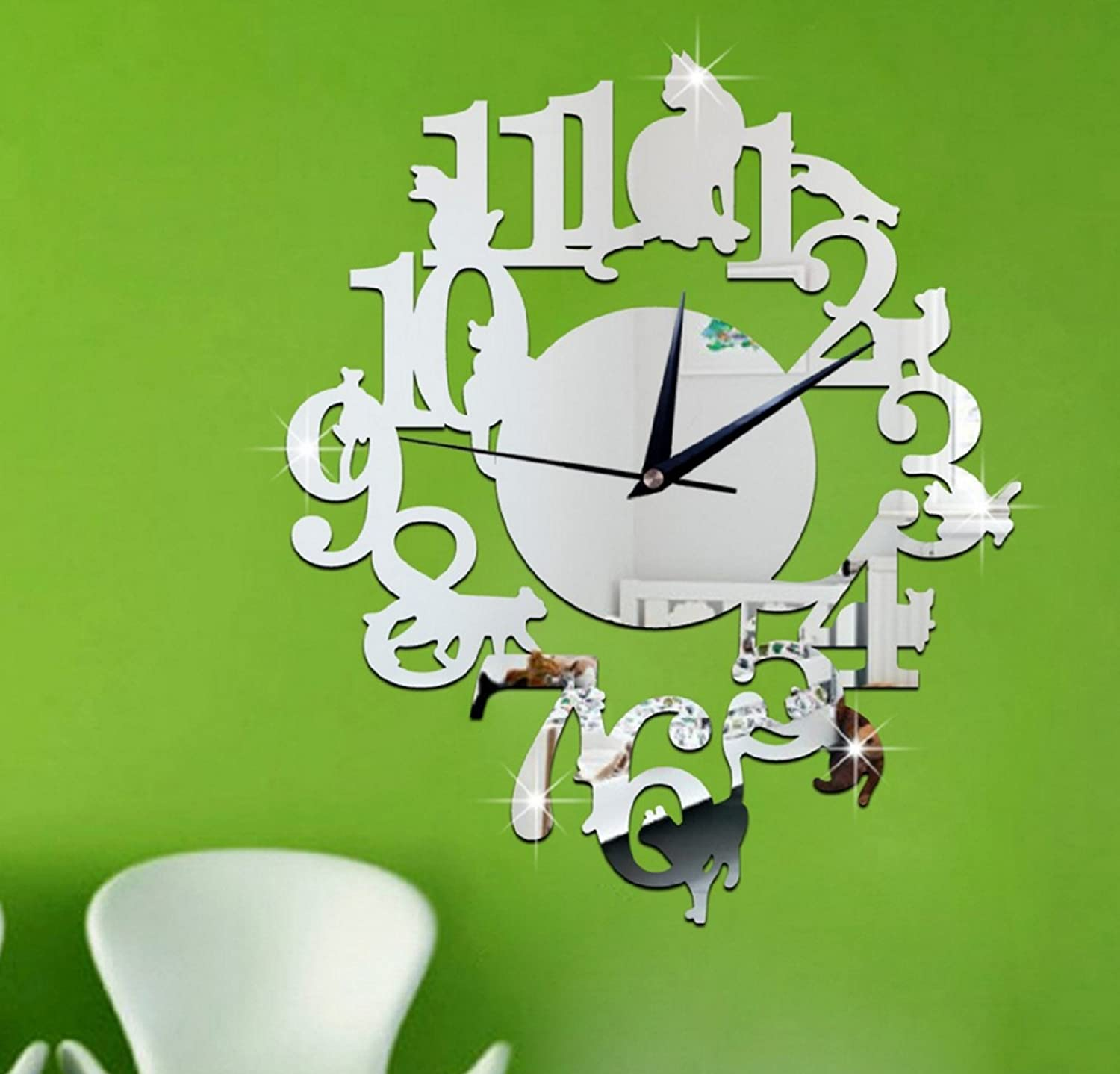 Amazon.com: (Silver Color) NEW home decor wandklok creative wall watch reloj Acrylic Cats Lovery large 3d vintage wall clocks modern design murale reloj ...