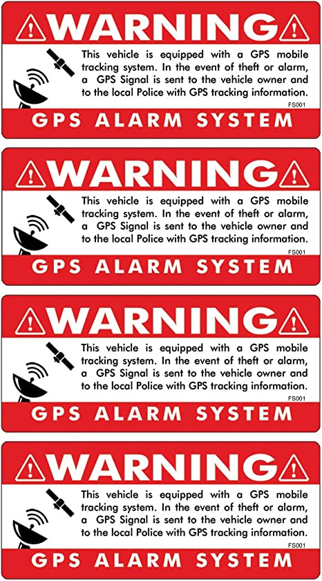 4 GPS ALARM SYSTEM WARNING STICKER SET Anti Theft Car Truck Vehicle Security