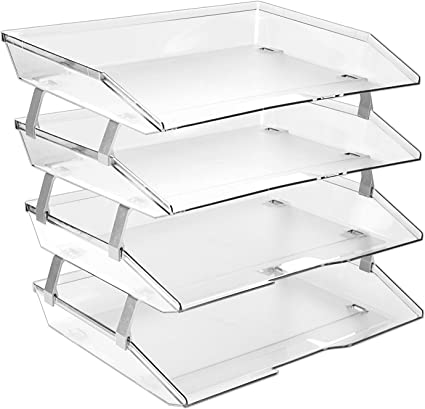 Acrimet Facility 4 Tier Letter Tray Side Load Plastic Desktop File Organizer Clear Crystal Color Home Kitchen